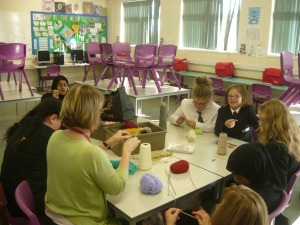 The newly qualified knitters in action.